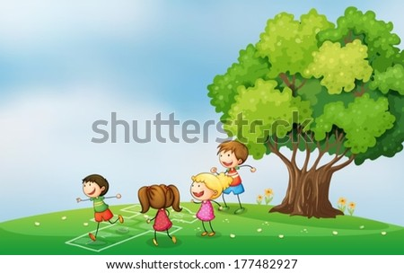 Illustration of the kids playing at the hilltop near the tree - stock vector