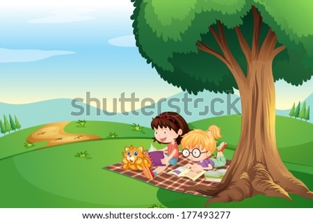 Illustration of the kids reading under the tree with a cat - stock vector
