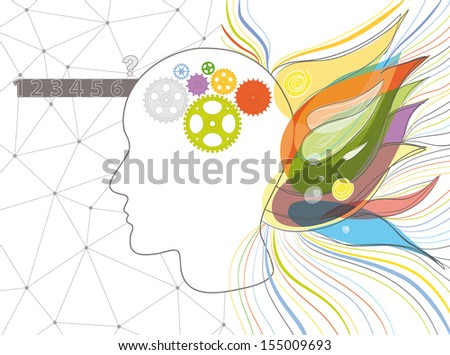 Illustration of the left and the right brain functions. EPS 10. Transparency. Gradients. - stock vector
