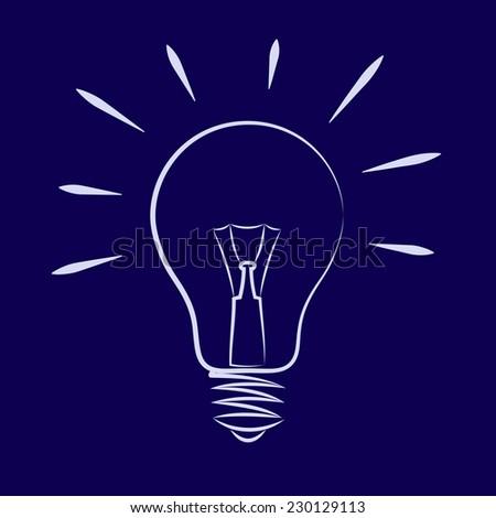 Illustration of the light bulb on dark blue background - stock vector
