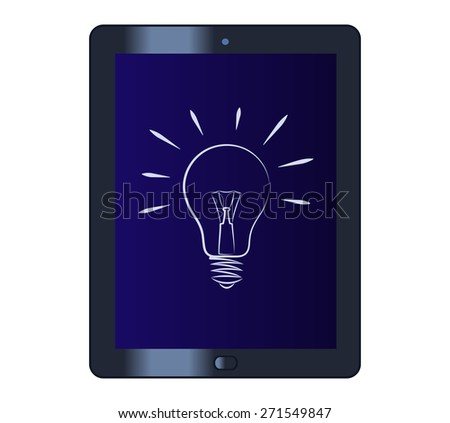 Illustration of the light bulb on the tablet computer - stock vector