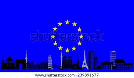 illustration of the main attractions of Europe on the background of the flag . - stock vector