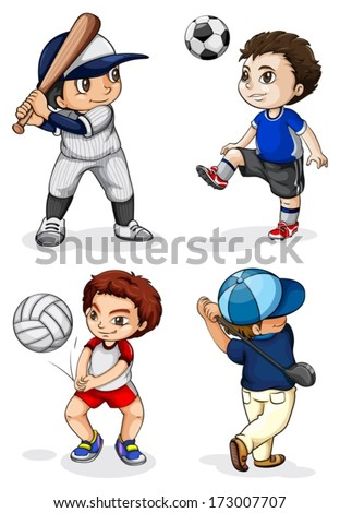 Illustration of the male kids engaging in different activities on a white background - stock vector