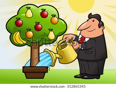 Illustration of the man watering the magic fruit tree - stock vector