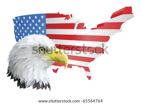 illustration of the map of the united states of america and the eagle - stock vector