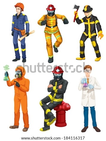 Illustration of the men with different professions on a white background - stock vector