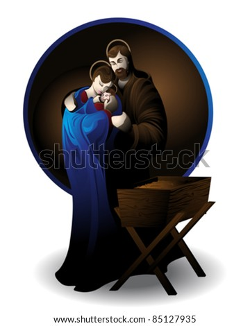 Illustration of the nativity scene, silhouetted against white background. - stock vector