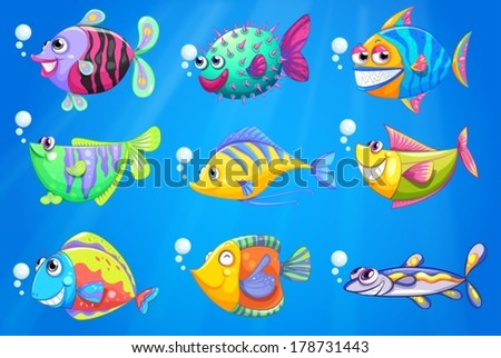 Illustration of the nine colorful fishes under the sea - stock vector