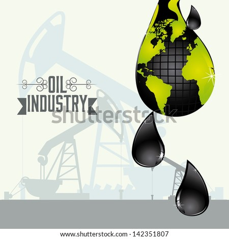 Illustration of the oil industry and its ecological impact, vector illustration - stock vector