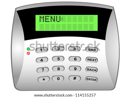 Illustration of the panel of the coded lock with LCD display - stock vector