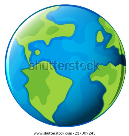 Illustration of the planet Earth on a white background - stock vector