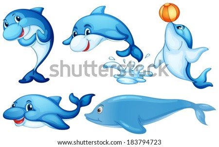 Illustration of the playful dolphins on a white background - stock vector