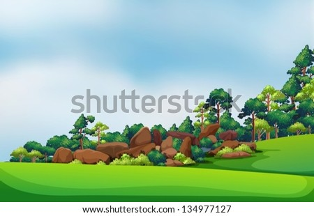 Illustration of the rocks at the forest - stock vector