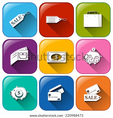 Illustration of the rounded buttons with icons for spending on a white background   - stock vector
