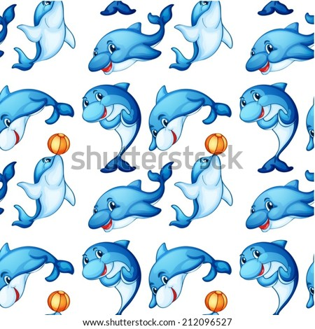 Illustration of the seamless design of dolphins on a white background - stock vector