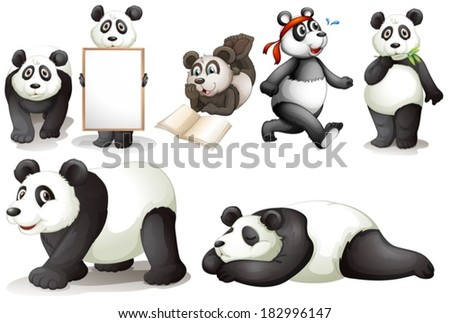 Illustration of the seven pandas on a white background - stock vector