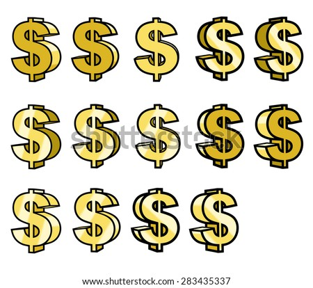 Illustration of the shiny gold dollar sings - stock vector