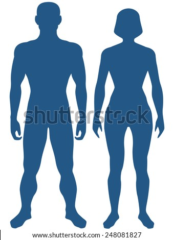 Illustration of the silhouette human body. Man and woman - stock vector