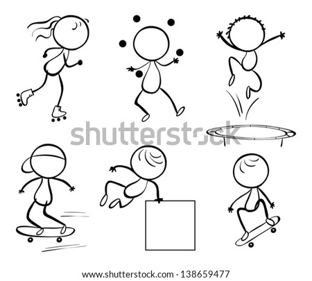 Illustration of the silhouettes of the different activities on a white background - stock vector
