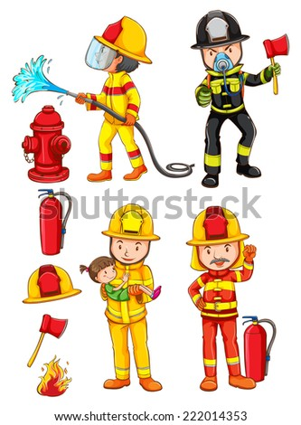Illustration of the simple sketches of the firemen on a white background  - stock vector