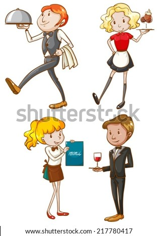 Illustration of the simple sketches of the waiters and waitresses on a white background  - stock vector