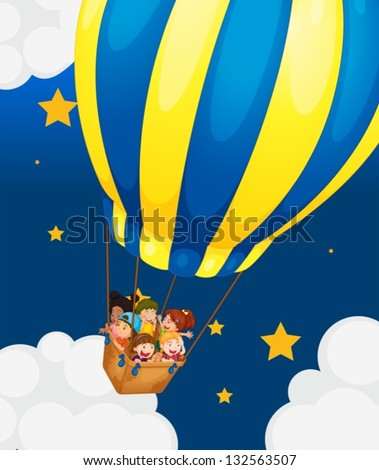 Illustration of the six kids riding in the air balloon - stock vector