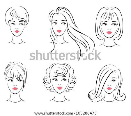 Illustration of the six options for women's hairstyles. - stock vector