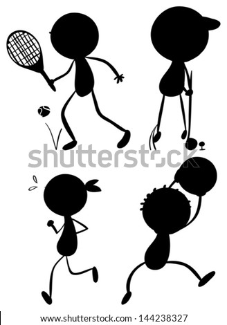 Illustration of the sport silhouettes on a white background - stock vector