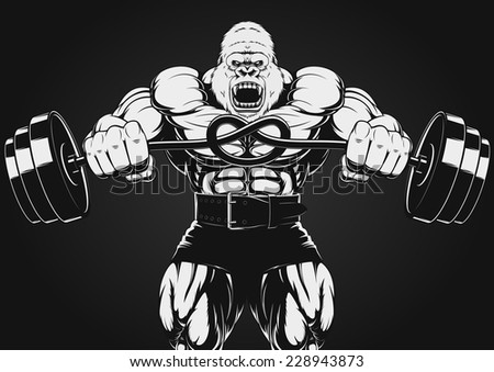 illustration of the strong gorilla - stock vector