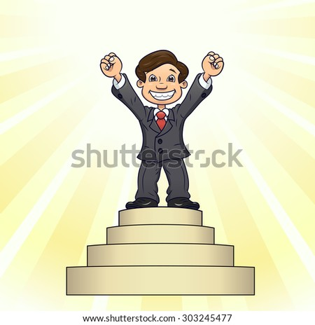 Illustration of the successful smiling businessman standing on pedestal of glory - stock vector