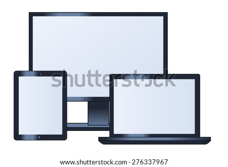 Illustration of the tablet computer, lcd monitor, laptop and tablet - stock vector