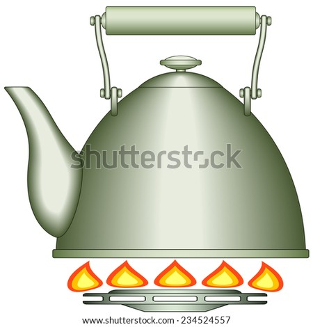 Illustration of the teapot on gas-stove burner - stock vector