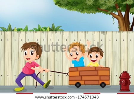 Illustration of the three boys playing near the wooden wall - stock vector