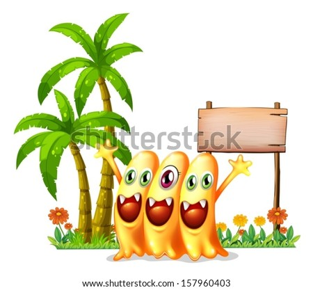 Illustration of the three happy orange monster in front of the empty wooden signage on a white background  - stock vector