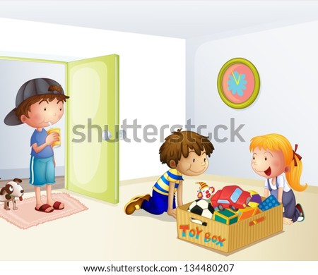 Illustration of the three kids inside the house with a box of toys - stock vector