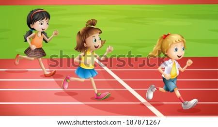 Illustration of the three kids jogging - stock vector