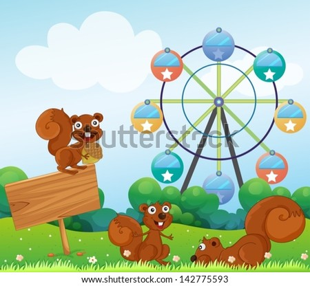 Illustration of the three playful squirrels near the empty arrowboard at the hilltop - stock vector
