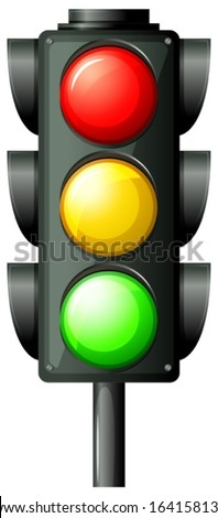 Illustration of the traffic light on a white background - stock vector