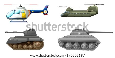 Illustration of the transportation equipments at the battlefield on a white background - stock vector