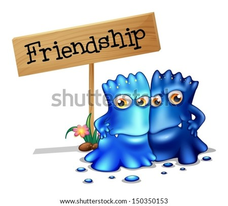 Illustration of the two blue monsters beside a signage on a white background - stock vector