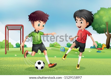Illustration of the two boys playing soccer near the park - stock vector