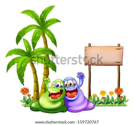 Illustration of the two monsters having fun in front of the empty wooden signboard on a white background - stock vector
