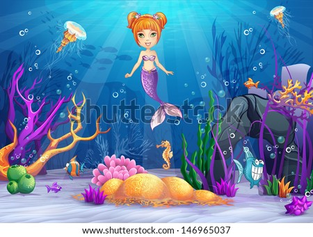 Illustration of the underwater worlds with a funny fish and a mermaid for web graphics, print, game, design. - stock vector
