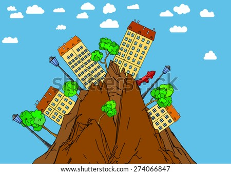 Illustration of the urban landscape in wild mountains. - stock vector