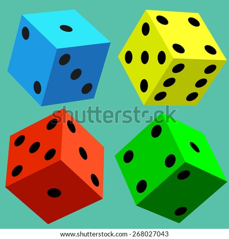 Illustration of the varicolored dice cubes - stock vector