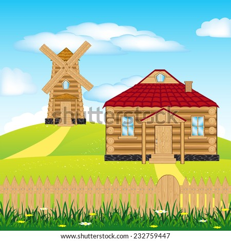 Illustration of the wind mill on green hill - stock vector