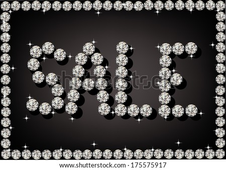 illustration of the word sale of diamonds - stock vector
