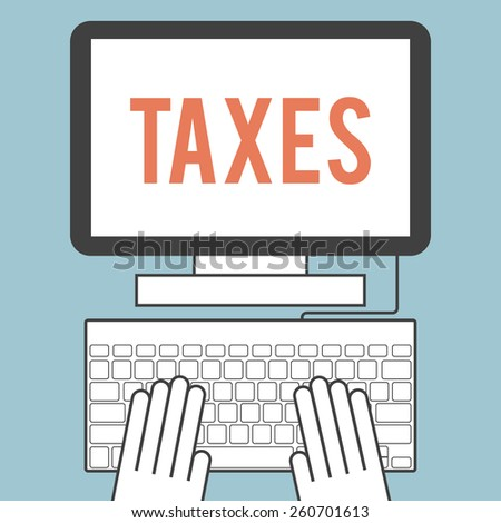 Illustration of the word  taxes on computer screen - stock vector