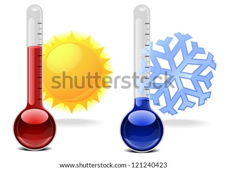 illustration of thermometers with snowflake and sun - stock vector