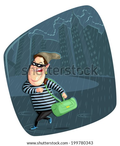 illustration of thief stealing bag in vector - stock vector
